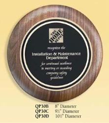 round walnut recognition  corporate award plaques