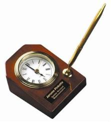 engraved clock desk set
