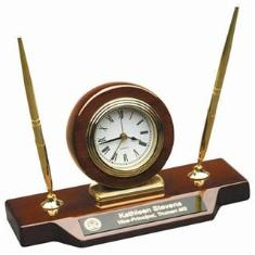 engraved clock desk set with pen